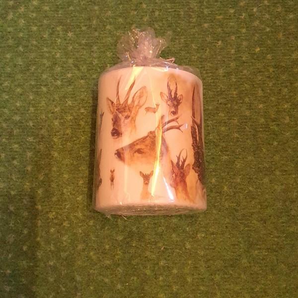 Kerze mit Reh-/ Hirschaufdruck